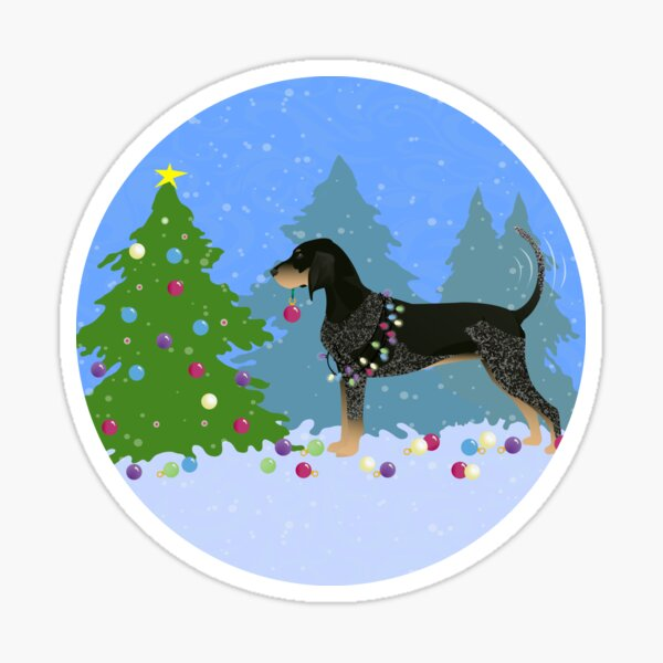 Bluetick Coonhound Decorating Christmas Tree in the Forest Sticker