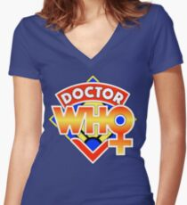 4th Doctor Logo with a Twist (in Color) Women's Fitted V-Neck T-Shirt
