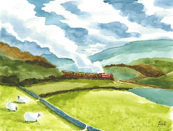 Watercolour Steam Train by AmberDust