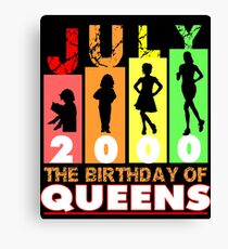 Queens Born In July 2000 T Shirt Birthday Gift 17 Years Old Canvas Print
