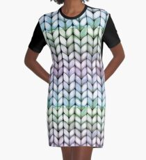Chunky Lavender Forest Knit Graphic T-Shirt Dress