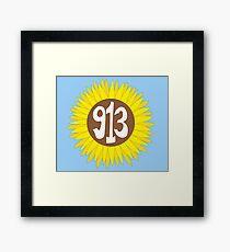Hand Drawn Kansas Sunflower 913 Area Code Framed Print