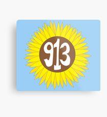 Hand Drawn Kansas Sunflower 913 Area Code Metal Print