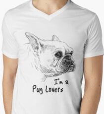 PUG LOVERS DESIGN 2017 Men's V-Neck T-Shirt