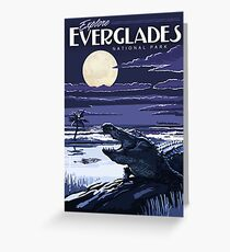 Everglades National Park at Night Vintage Travel Decal Sticker Greeting Card