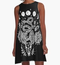 Moon Phases, Snakes, And Crystals Witchy Design A-Line Dress