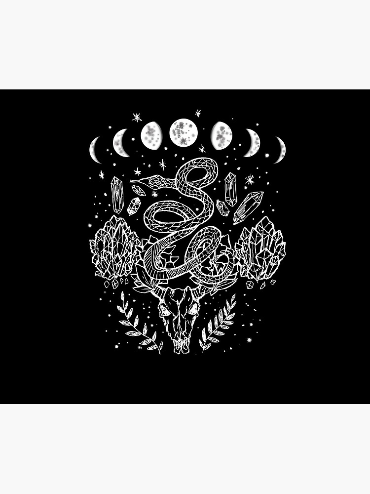 Moon Phases, Snakes, And Crystals Witchy Design by lunaelizabeth