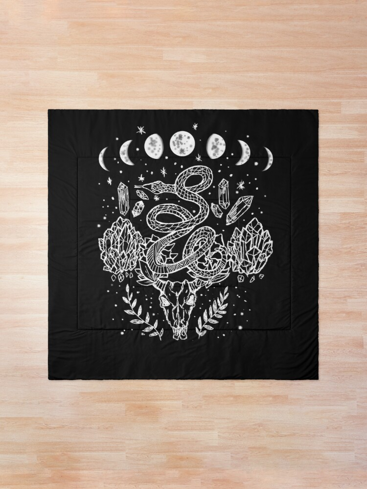 Alternate view of Moon Phases, Snakes, And Crystals Witchy Design Comforter