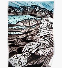 The Lady is the Landscape - Drypoint Etching Poster