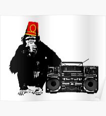 Monkey with Fez and Boombox Poster