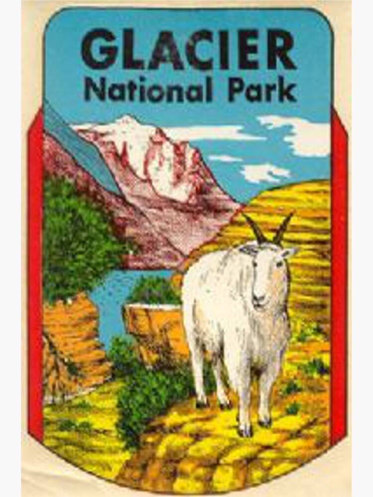 Glacier National Park Badge Vintage Travel Decal Montana by MeLikeyTees