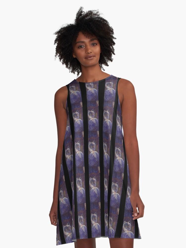 Blue cat A-Line Dress Front
