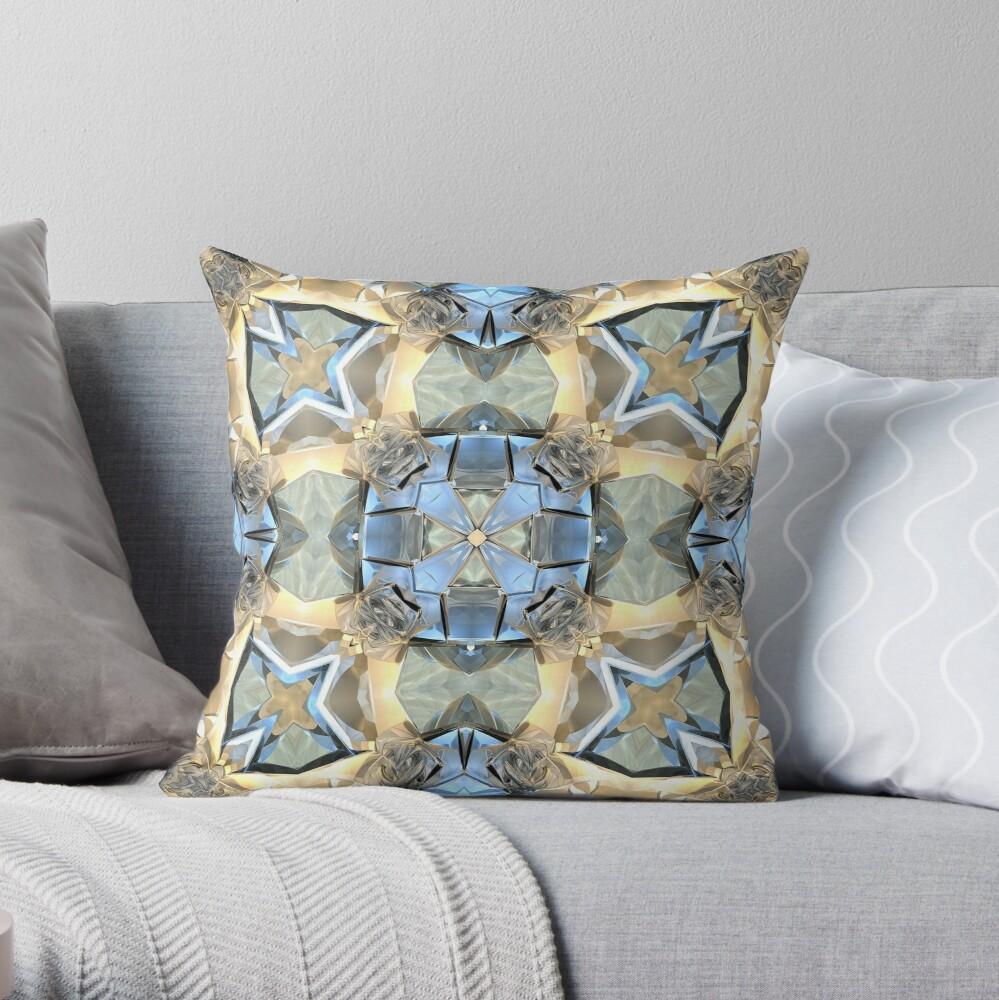 Reflections of Blue And Gold Throw Pillow