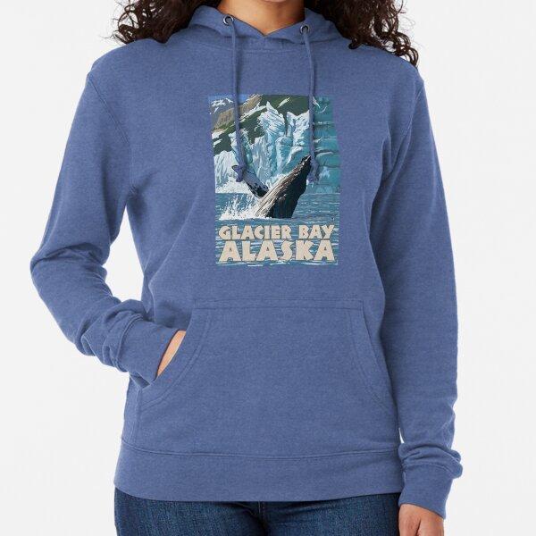 Glacier Bay National Park Splashing Whale Alaska Vintage Travel Decal Lightweight Hoodie