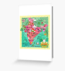 India Map-illustrated Greeting Card