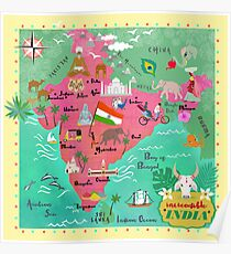 India map-illustrated Poster