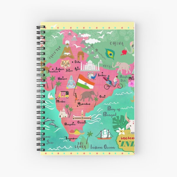 India map-illustrated Spiral Notebook