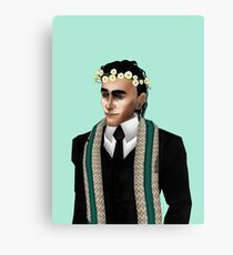 loki in crown of daisies Canvas Print