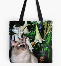 Ranee taking time to smell the flowers Tote Bag