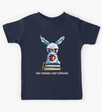 Lazy Rabbit With Coffee Funny Student School Exam Kids Clothes