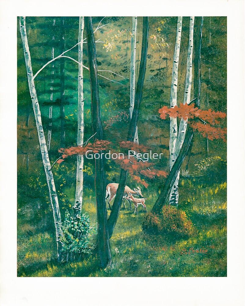 Deep Woods - Doe & Fawn - Acrylic Paint by Gordon Pegler