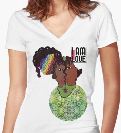 Zen- I Am Heart  Women's Fitted V-Neck T-Shirt