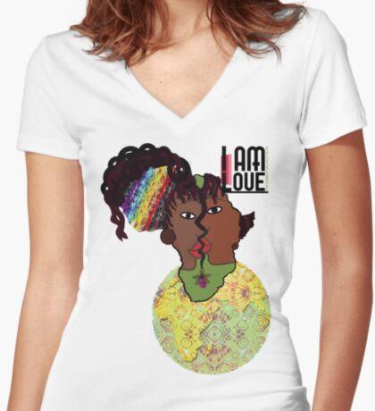 Zen- I Am Sun-Centered Women's Fitted V-Neck T-Shirt