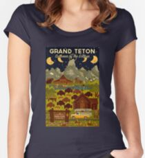 Grand Teton National Park - Summer of the Eclipse - Travel Decal Women's Fitted Scoop T-Shirt