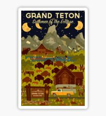 Grand Teton National Park - Summer of the Eclipse - Travel Decal Sticker