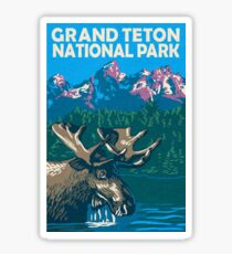 Pegatina Moose en Grand Teton National Park Wyoming Travel Decal