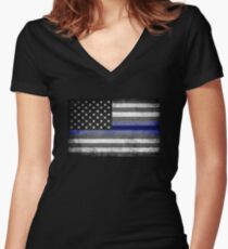 The Thin Blue Line - American Police Officer Women's Fitted V-Neck T-Shirt