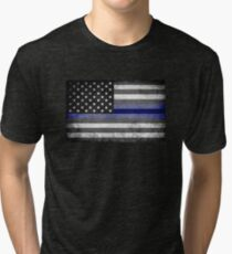 The Thin Blue Line - American Police Officer Tri-blend T-Shirt
