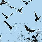 Silhouette Of A Flock Of Seagulls Over Water Vector by taiche