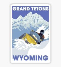 Snowmobiling in the Grand Tetons Wyoming Travel Decal Sticker