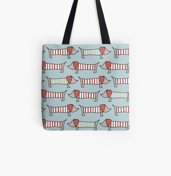 Wiener dogs in striped sweaters  All Over Print Tote Bag