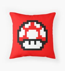 Super Mario Bros pixel mushroom Throw Pillow