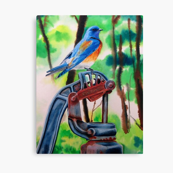 Eastern Bluebird On Rusty Pump Canvas Print