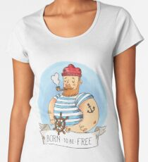 Cute Sailor Man With Pipe Rudder And Ribbon With Quote Women's Premium T-Shirt