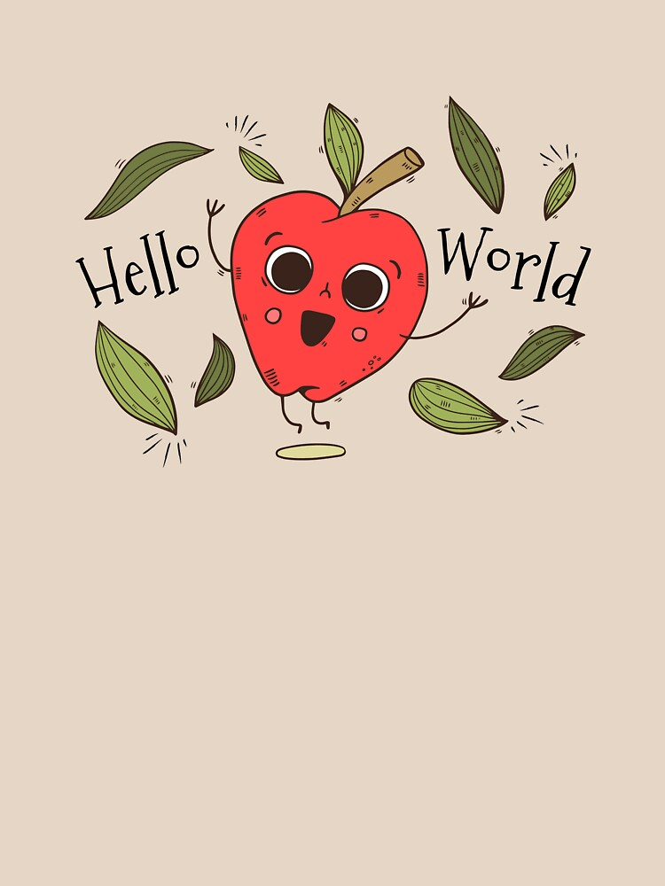 Cute Apple Character Jumping With Leaves With Happy Quote (Hello World!) by simbamerch