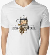 Cute Old Captain Sailor Smoking Pipe With Rudder And Quote T-Shirt