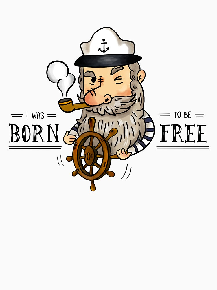Cute Old Captain Sailor Smoking Pipe With Rudder And Quote by simbamerch