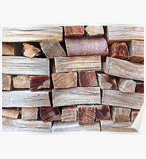 Wood pile, textured background Poster