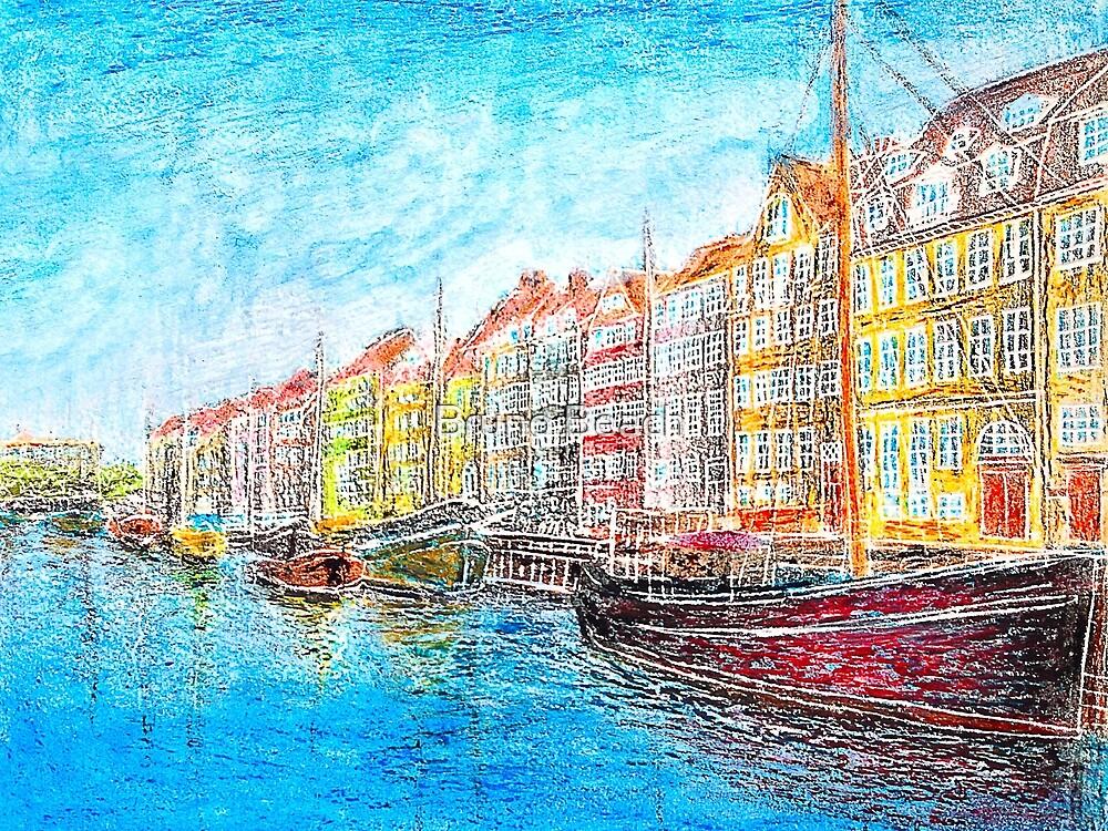 Nyhavn - Copenhagen, Denmark - Oil Pastel Painting by Bruno Beach