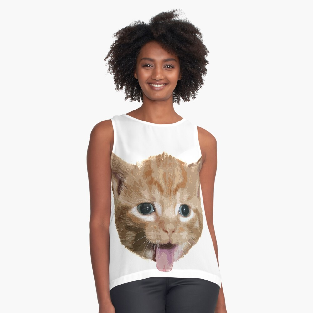 Funny cute Cat Contrast Tank Front