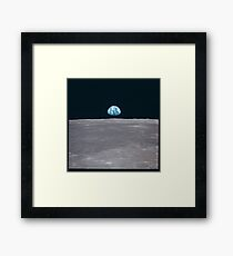 Apollo Archive Earth Rise over Moon Framed Print