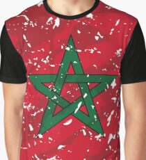 Morocco Grunge Vintage Flag Graphic T-Shirt