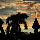 TIKI TORCHES AT SUNSET by WhiteDove Studio kj gordon