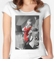 noir pulp black and white mafia mobster, private detective and red dress sexy woman poster Women's Fitted Scoop T-Shirt