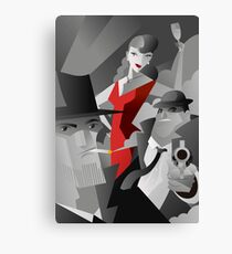 noir pulp black and white mafia mobster, private detective and red dress sexy woman poster Canvas Print