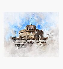 Castel Saint Angelo Watercolor Photographic Print